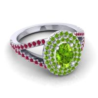 Ornate Oval Halo Dhala Peridot Ring with Ruby in 18k White Gold