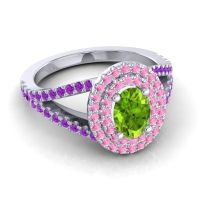 Ornate Oval Halo Dhala Peridot Ring with Pink Tourmaline and Amethyst in 14k White Gold