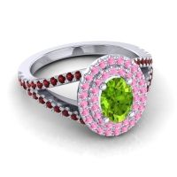 Ornate Oval Halo Dhala Peridot Ring with Pink Tourmaline and Garnet in Platinum