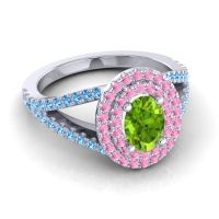 Ornate Oval Halo Dhala Peridot Ring with Pink Tourmaline and Swiss Blue Topaz in 14k White Gold
