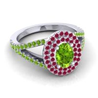 Ornate Oval Halo Dhala Peridot Ring with Ruby in 14k White Gold