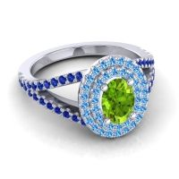 Ornate Oval Halo Dhala Peridot Ring with Swiss Blue Topaz and Blue Sapphire in Palladium