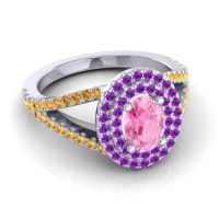 Ornate Oval Halo Dhala Pink Tourmaline Ring with Amethyst and Citrine in Platinum
