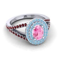 Ornate Oval Halo Dhala Pink Tourmaline Ring with Aquamarine and Garnet in 14k White Gold