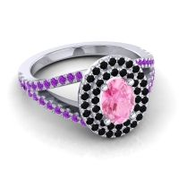Ornate Oval Halo Dhala Pink Tourmaline Ring with Black Onyx and Amethyst in 18k White Gold