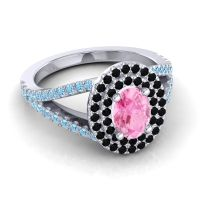 Ornate Oval Halo Dhala Pink Tourmaline Ring with Black Onyx and Aquamarine in 18k White Gold