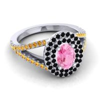 Ornate Oval Halo Dhala Pink Tourmaline Ring with Black Onyx and Citrine in 14k White Gold
