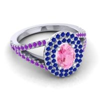 Ornate Oval Halo Dhala Pink Tourmaline Ring with Blue Sapphire and Amethyst in 18k White Gold