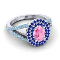 Ornate Oval Halo Dhala Pink Tourmaline Ring with Blue Sapphire and Aquamarine in Platinum