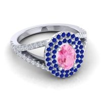Ornate Oval Halo Dhala Pink Tourmaline Ring with Blue Sapphire and Diamond in 14k White Gold