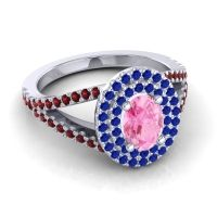 Ornate Oval Halo Dhala Pink Tourmaline Ring with Blue Sapphire and Garnet in Palladium