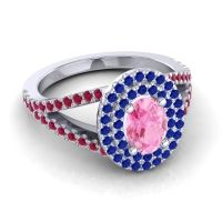 Ornate Oval Halo Dhala Pink Tourmaline Ring with Blue Sapphire and Ruby in Platinum