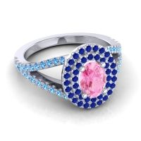 Ornate Oval Halo Dhala Pink Tourmaline Ring with Blue Sapphire and Swiss Blue Topaz in 14k White Gold