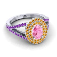 Ornate Oval Halo Dhala Pink Tourmaline Ring with Citrine and Amethyst in 14k White Gold