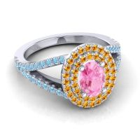 Ornate Oval Halo Dhala Pink Tourmaline Ring with Citrine and Aquamarine in 14k White Gold