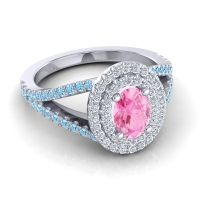 Ornate Oval Halo Dhala Pink Tourmaline Ring with Diamond and Aquamarine in 18k White Gold