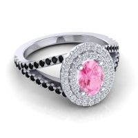 Ornate Oval Halo Dhala Pink Tourmaline Ring with Diamond and Black Onyx in 14k White Gold