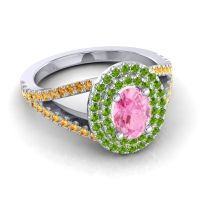 Ornate Oval Halo Dhala Pink Tourmaline Ring with Peridot and Citrine in 14k White Gold