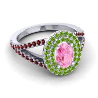 Ornate Oval Halo Dhala Pink Tourmaline Ring with Peridot and Garnet in 14k White Gold