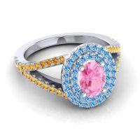 Ornate Oval Halo Dhala Pink Tourmaline Ring with Swiss Blue Topaz and Citrine in Platinum