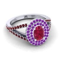 Ornate Oval Halo Dhala Ruby Ring with Amethyst and Garnet in 14k White Gold