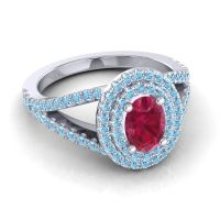 Ornate Oval Halo Dhala Ruby Ring with Aquamarine in 14k White Gold