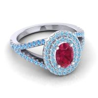Ornate Oval Halo Dhala Ruby Ring with Aquamarine and Swiss Blue Topaz in Platinum