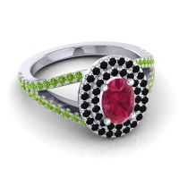 Ornate Oval Halo Dhala Ruby Ring with Black Onyx and Peridot in 18k White Gold