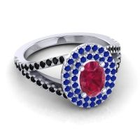 Ornate Oval Halo Dhala Ruby Ring with Blue Sapphire and Black Onyx in 18k White Gold