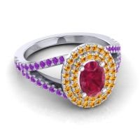 Ornate Oval Halo Dhala Ruby Ring with Citrine and Amethyst in 18k White Gold
