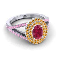 Ornate Oval Halo Dhala Ruby Ring with Citrine and Pink Tourmaline in Palladium