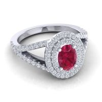 Ornate Oval Halo Dhala Ruby Ring with Diamond in 18k White Gold