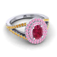 Ornate Oval Halo Dhala Ruby Ring with Pink Tourmaline and Citrine in 18k White Gold