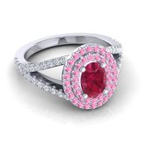 Ornate Oval Halo Dhala Ruby Ring with Pink Tourmaline and Diamond in 14k White Gold