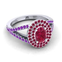 Ornate Oval Halo Dhala Ruby Ring with Amethyst in 14k White Gold