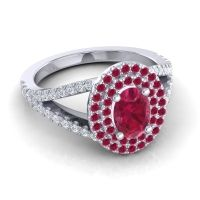 Ornate Oval Halo Dhala Ruby Ring with Diamond in Platinum