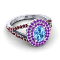 Ornate Oval Halo Dhala Swiss Blue Topaz Ring with Amethyst and Garnet in 18k White Gold