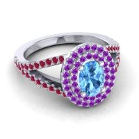 Ornate Oval Halo Dhala Swiss Blue Topaz Ring with Amethyst and Ruby in Platinum