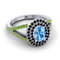 Ornate Oval Halo Dhala Swiss Blue Topaz Ring with Black Onyx and Peridot in 14k White Gold