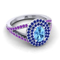Ornate Oval Halo Dhala Swiss Blue Topaz Ring with Blue Sapphire and Amethyst in 14k White Gold