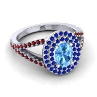 Ornate Oval Halo Dhala Swiss Blue Topaz Ring with Blue Sapphire and Garnet in 18k White Gold