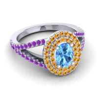Ornate Oval Halo Dhala Swiss Blue Topaz Ring with Citrine and Amethyst in Platinum