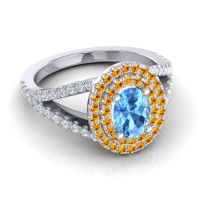 Ornate Oval Halo Dhala Swiss Blue Topaz Ring with Citrine and Diamond in 14k White Gold