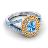 Ornate Oval Halo Dhala Swiss Blue Topaz Ring with Citrine in 14k White Gold