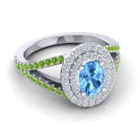 Ornate Oval Halo Dhala Swiss Blue Topaz Ring with Diamond and Peridot in Platinum