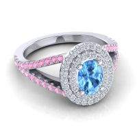 Ornate Oval Halo Dhala Swiss Blue Topaz Ring with Diamond and Pink Tourmaline in Platinum