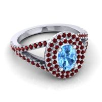 Ornate Oval Halo Dhala Swiss Blue Topaz Ring with Garnet in Palladium