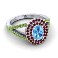 Ornate Oval Halo Dhala Swiss Blue Topaz Ring with Garnet and Peridot in Platinum