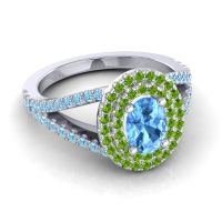 Ornate Oval Halo Dhala Swiss Blue Topaz Ring with Peridot and Aquamarine in Platinum