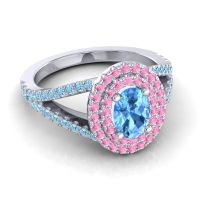 Ornate Oval Halo Dhala Swiss Blue Topaz Ring with Pink Tourmaline and Aquamarine in 18k White Gold